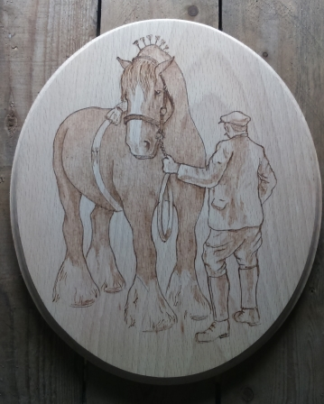 Shire Stallion with Farmer